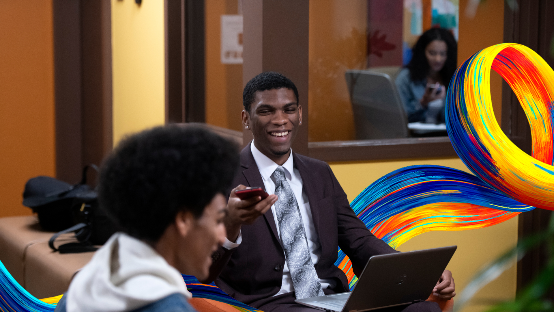 From left, UCI students Eeron D. Wilson II, and Chasen Greene chat at the CBCRR office. photo: Steve Zylius/UCI Center for Black Cultures, Resources & Research (CBCRR) at the UCI student center photo:  Steve Zylius/UCI